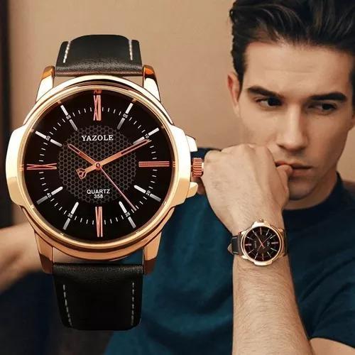 Relógio masculino original luxoesportivo yazole couro