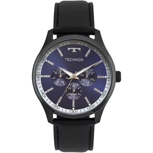 Relógio masculino technos 6p29ajp/2a 45mm couro preto