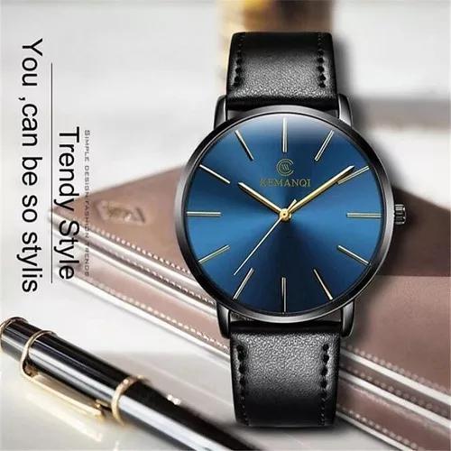 Relógio pulso ultra slim masculino k