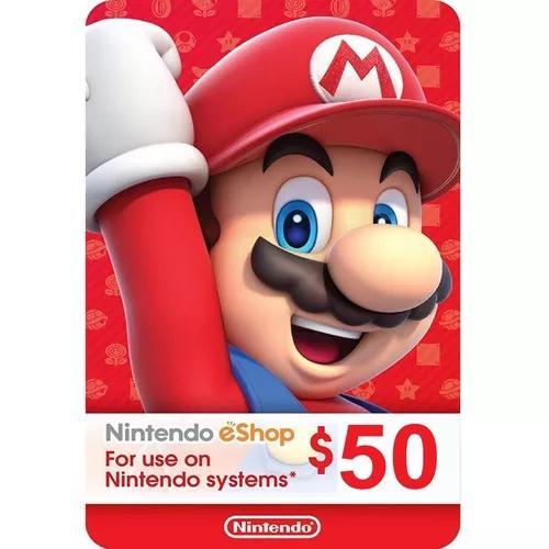 Cartão nintendo 3ds wii u switch eshop ecash $50 dolares