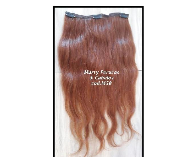 Faixas de cabelos naturais longas ruivas com tic tac
