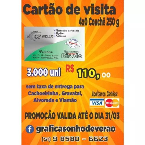 Cartão de visita couchê 250g 4x0