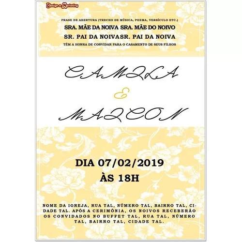 Convite digital casamento amarelo e branco