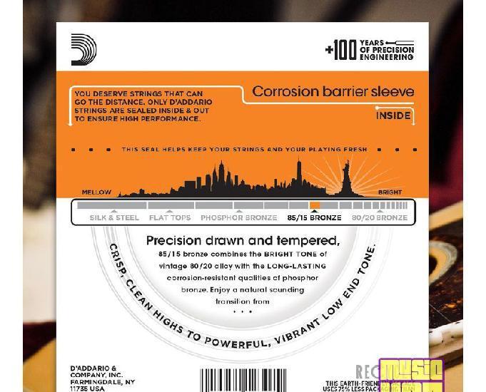 Encordoamento 010 Violão de Aço DAddario EZ900 Extra Light