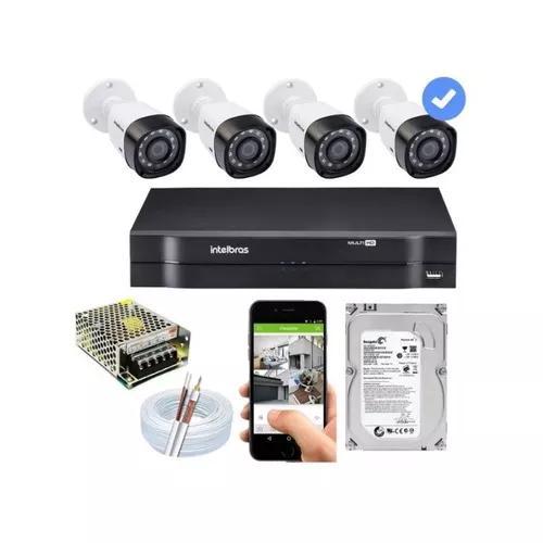 Kit cftv instalação 4 cameras+dvr+hd+cabos+conectores