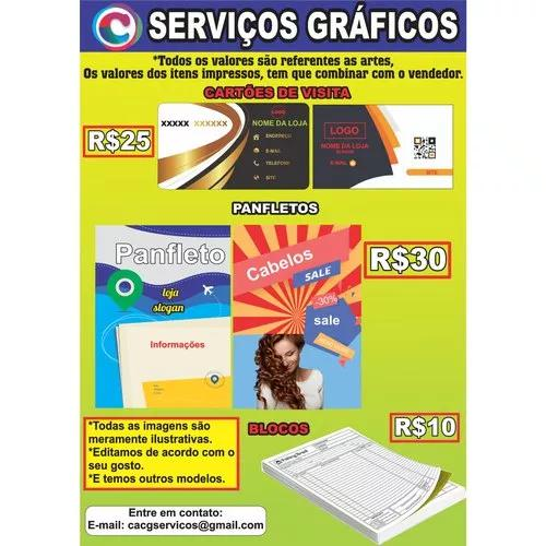Serviços gráficos: cartão de visita, panfleto, blocos