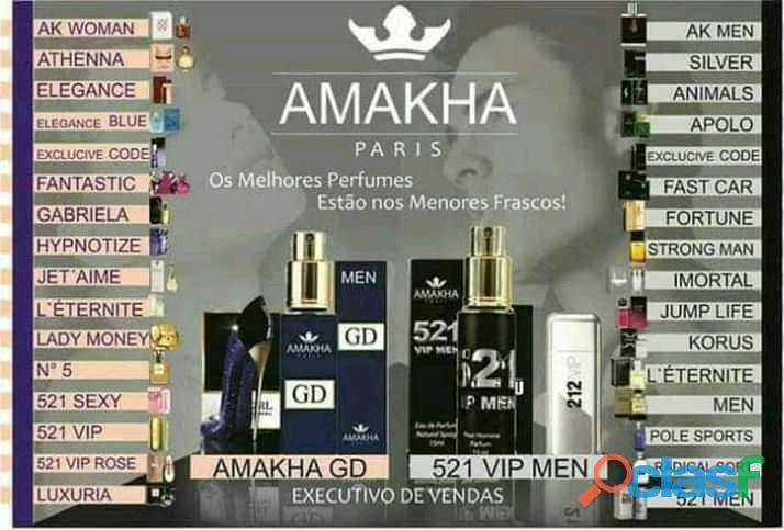 Perfumes amakha paris 30% da essência original,está desepregado aqui um ótima oportunidade