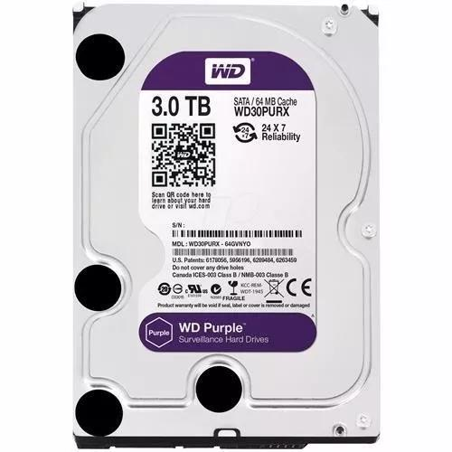 Hd wd 3tb sata purple 5400 rpm dvr intelbras wd30purz