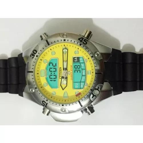 Relógio atlantis aqualand citizen fundo amarelo borracha