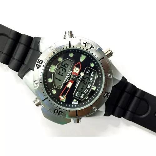 Relógio atlantis aqualand jp1060 fundo preto borracha