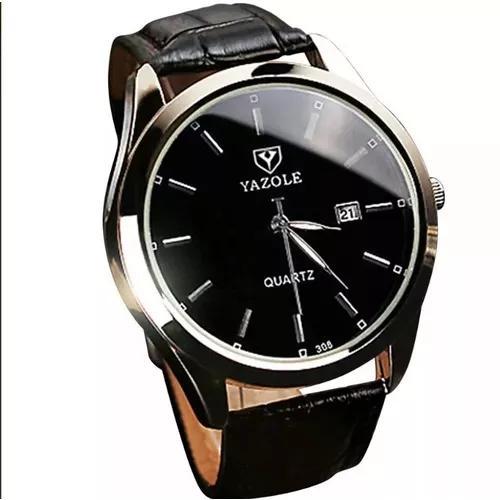 Relógio de pulseira de couro masculino yazole c/