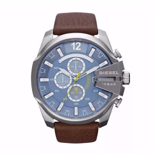Relógio diesel dz4281 mega chief original aço e couro
