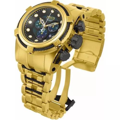 Relógio invicta 12753 reserve bolt zeus dourado 18k na