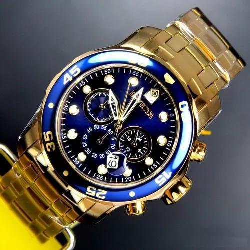 Relógio invicta pro diver 0073 original dourado banhado