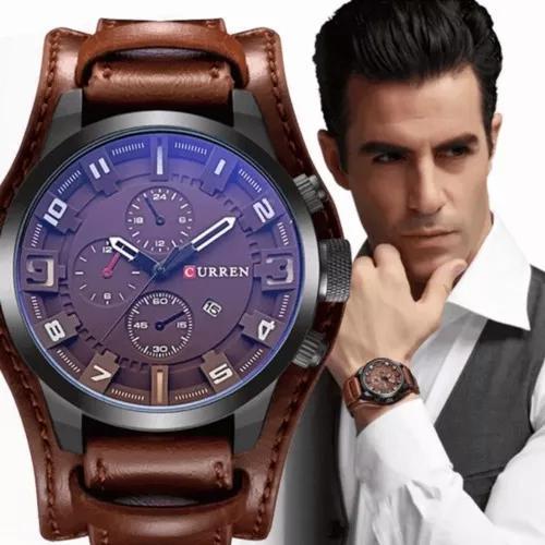 Relógio masculino curren importado original couro
