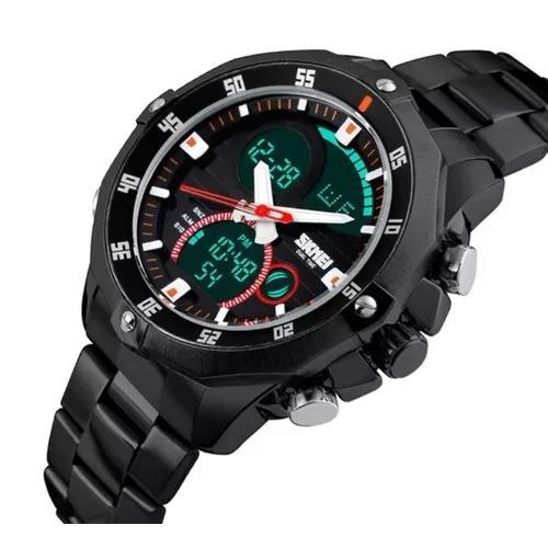 Relógio masculino skmei anadigi digital 1146 cronográfo