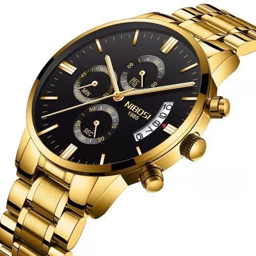 Relógio nibosi masculino dourado luxo cronógrafo original