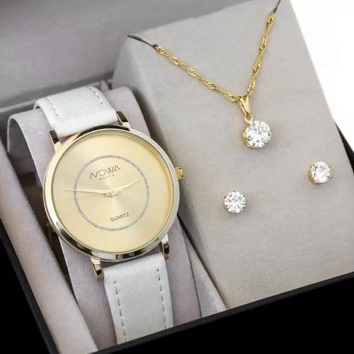 Relógio nowa dourado couro branco f