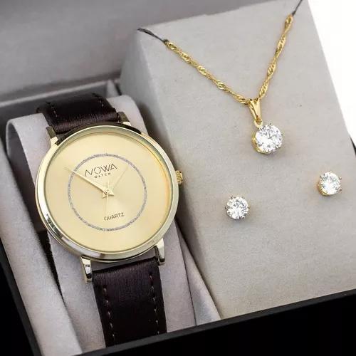 Relógio nowa dourado couro f