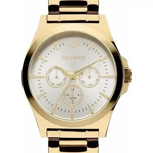 Relógio technos masculino dourado multifunção -