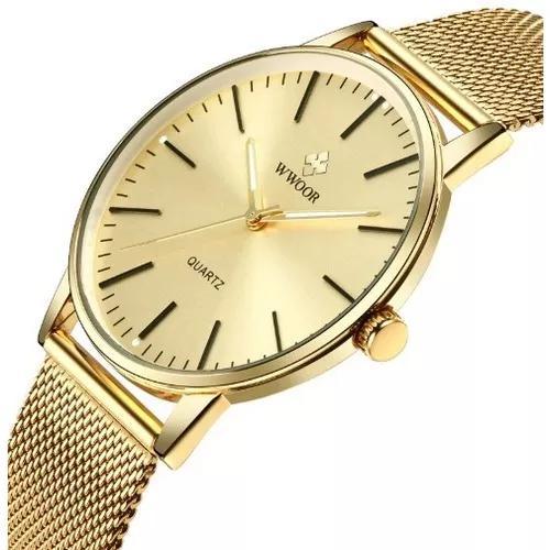 Relógio unissex slim ultra fino wwoor 8832 original 2 cores