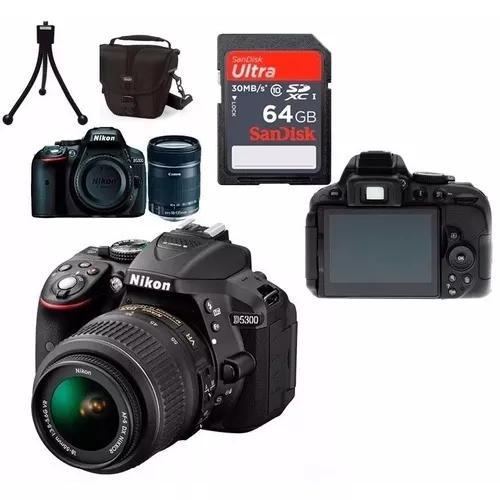 Câmera nikon d5300 full hd 18-55mm+64gb+bolsa+tripé