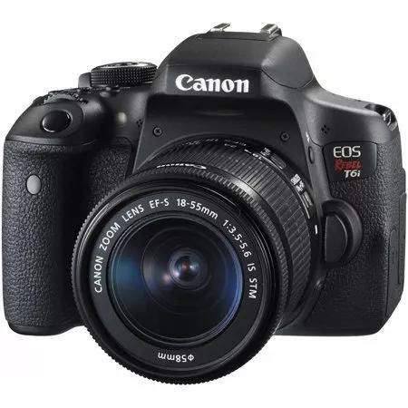 Câmera canon eos rebel t6i kit ef-s 18-55mm is stm nova