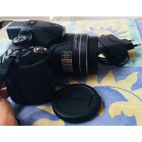 Câmera nikon coolpix p600 carregador bateria bolsa cartão