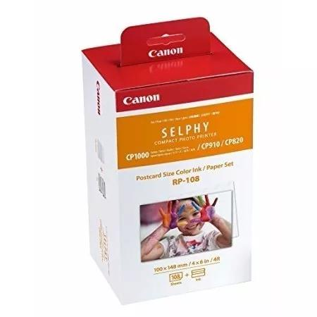 Kit canon rp108 fotos 10x15 p/ selphy cp 820 910 1000 1200