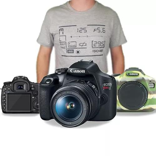 Kit canon t7 c/ 18-55mm + case silicone + pelicula + camisa