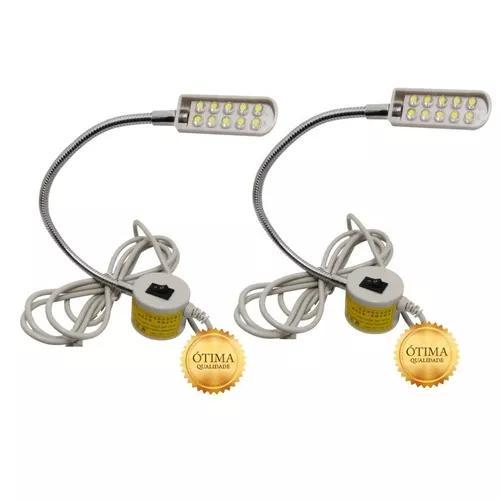 Luminária lampada led c/ haste flexível maquina costura