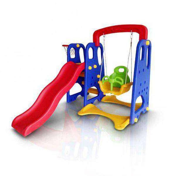 Playground infantil 3x1 escorregador balanço e cesta