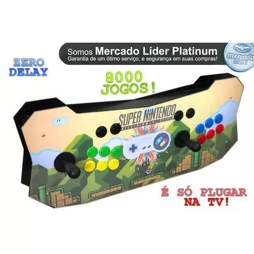 Arcade 8 mil jogos ps1+ n64 1 controle snes de brinde