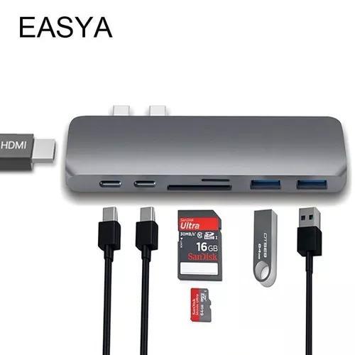 Adaptador hub macbook pro usb c hdmi thunderbolt cinza prata