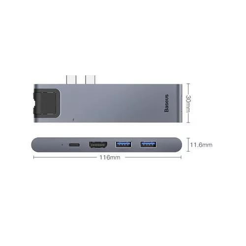 Adaptador hub usb-c 3.1 thunderbolt 3 macbook pro ethernet