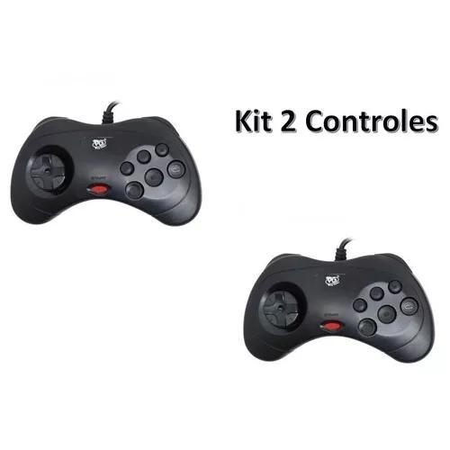 Kit 2 controle sega saturn usb pc raspberry retro game