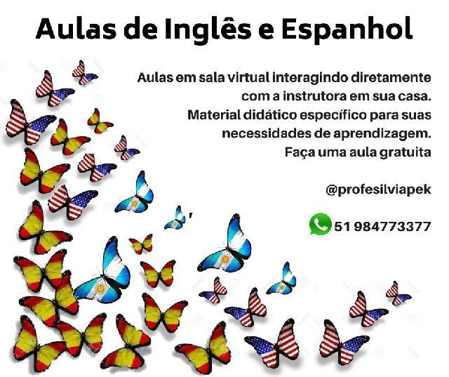 Aulas on line de espanhol e inglês