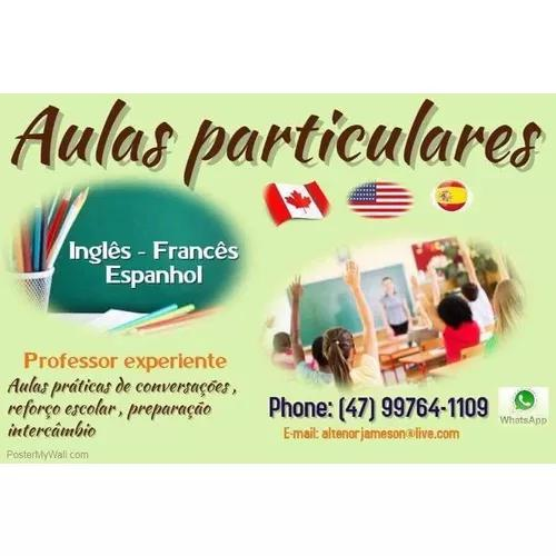 Aulas particulares inglês, francês e espanhol.