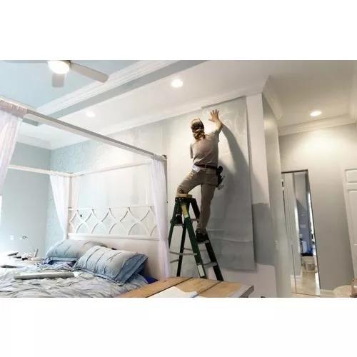Instalação de papeis de parede, tecido e adesivo.