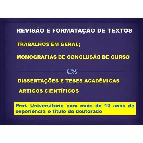 Revisão de tcc, dissertações e teses de doutorado