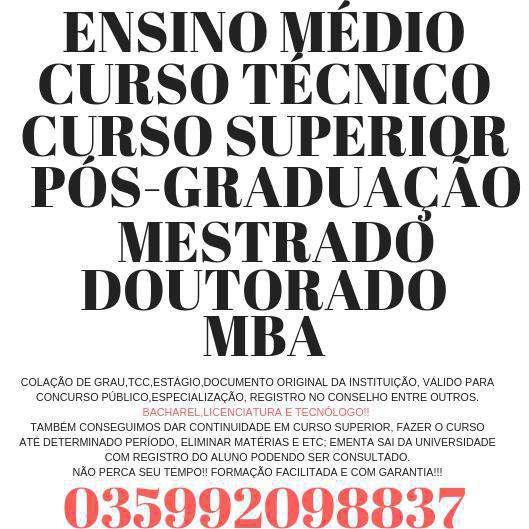 Curso superior(bacharel,licenciatura e tecnólogo)