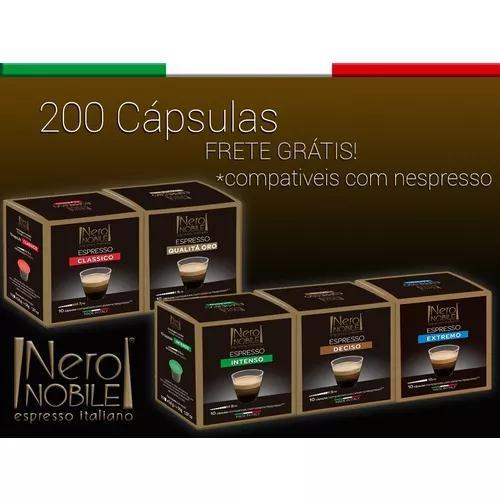 200 cápsulas café compatíveis nespresso- di nero nobile