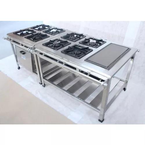 Fogão 8 bocas 30x30 b.pressão 8qd forno banho maria - inox