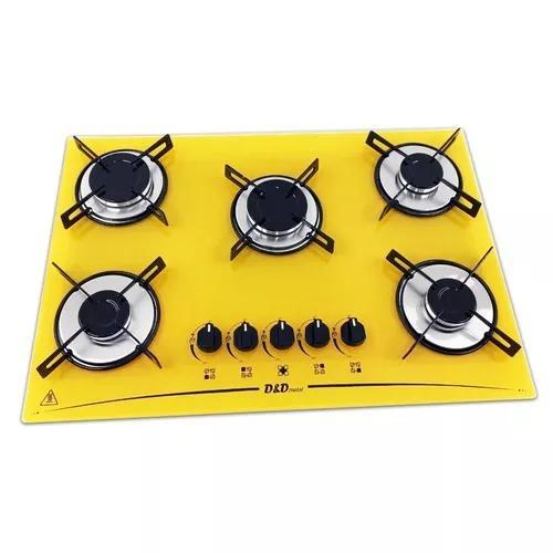 Fogão cooktop 5 bocas amarelo mega chama