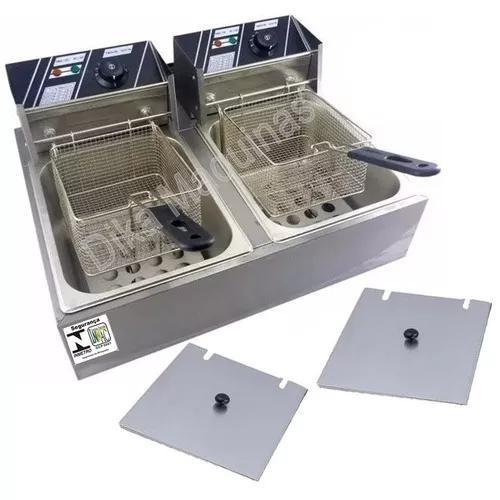 Fritadeira elétrica industrial cuba aço inox 12 litros
