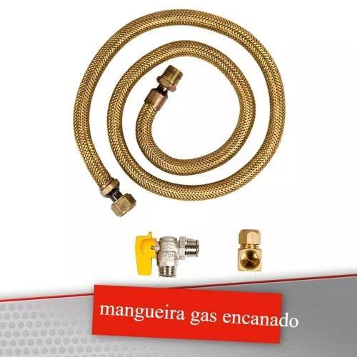 Kit 1 mangueira 2 metros 1 registro 1 adaptador gas encanado