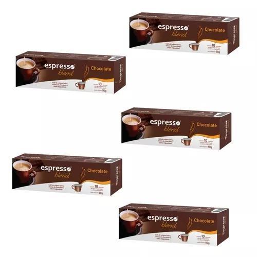Kit 50 cápsulas café sabor chocolate compativeis nespresso