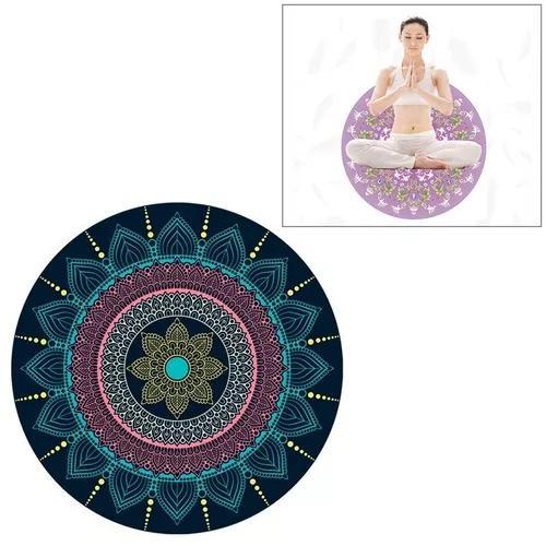 Azul ethnic estilo padrão redondo ioga meditação esteira