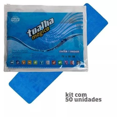Kit 50 toalhas mágicas azul 1 lado baixo relevo 75 x 20cm