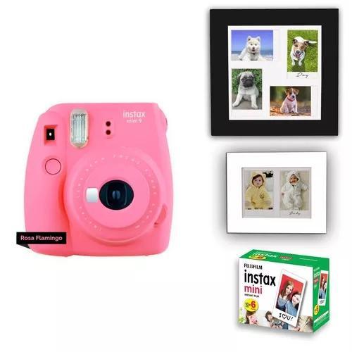 Câmera instax mini 9 kit com porta retrato + 60 fotos